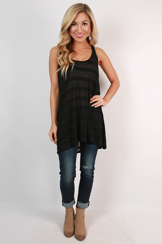 Big Sky Stripe Tunic Tank in Black