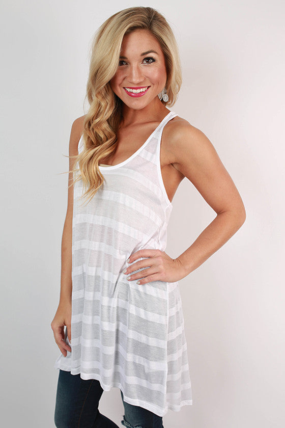 Big Sky Stripe Tunic Tank in White