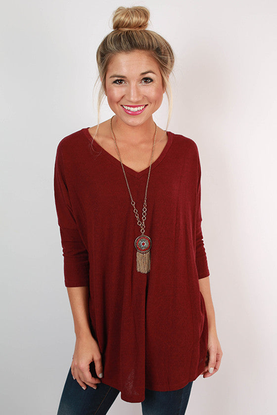 Keystone V-Neck Tee in Maroon