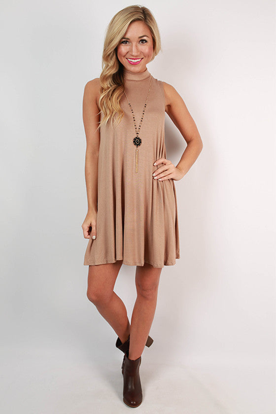 First Class Flight Tank Dress in Taupe