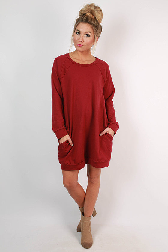 Cozy Jet Setting Sweatshirt Tunic Dress in Crimson