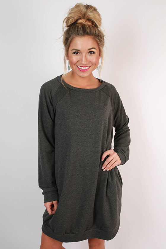 Cozy Jet Setting Sweatshirt Tunic Dress in Charcoal