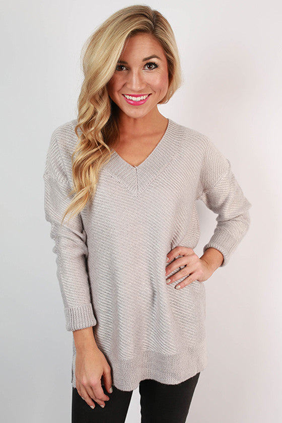 Touring France Sweater Top in Silver