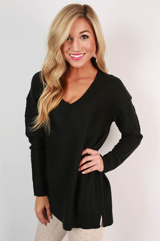 Touring France Sweater Top in Black