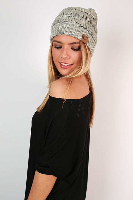 Beanie Beautiful in Grey Metallic Blend