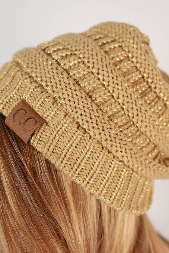 Beanie Beautiful in Beige Metallic Blend