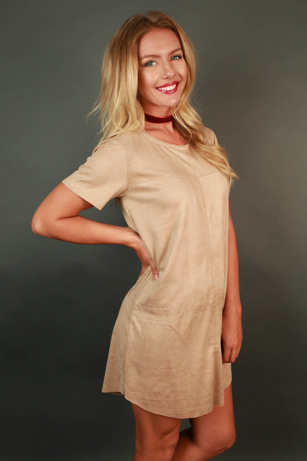 Soho Starlet Faux Suede Shift Dress in Tan