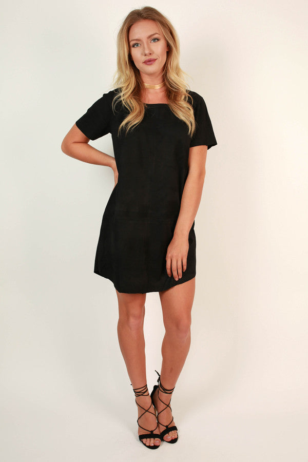 Soho Starlet Faux Suede Shift Dress in Black
