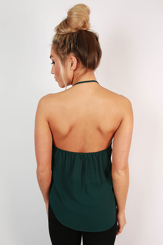 Hopeless Romantic Halter Top in Hunter Green