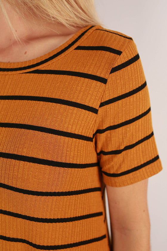 After School Stripe Swing Dress in Mustard