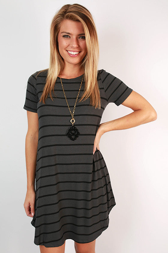 After School Stripe Swing Dress in Charcoal