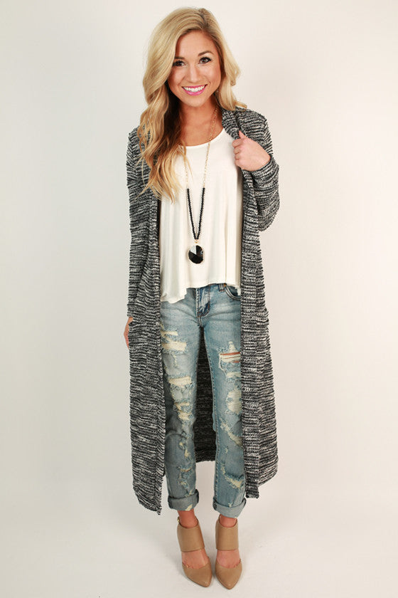 Angelfire Salt & Pepper Long Cardigan