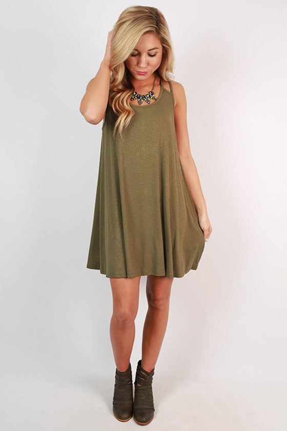 After School Ribbed Swing Dress in Army Green