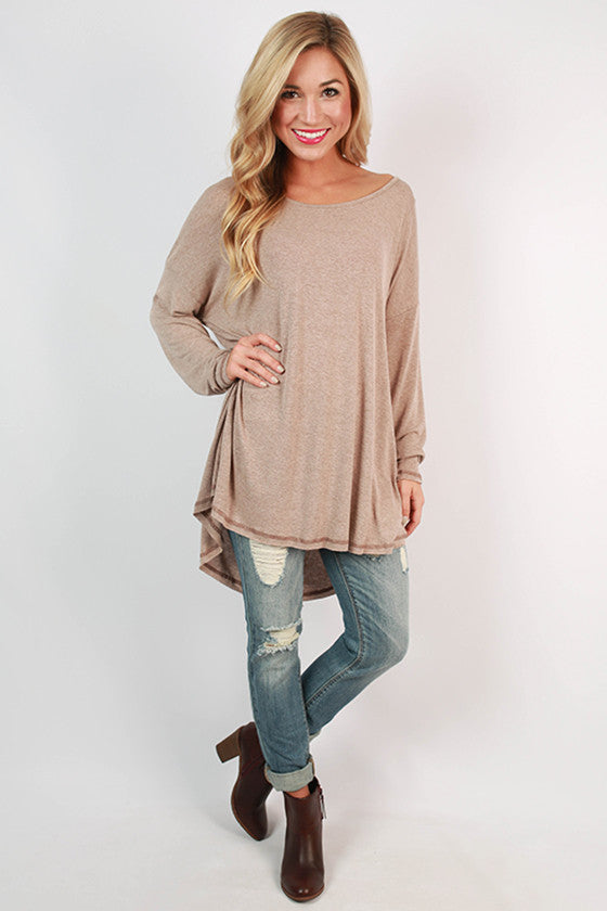 Memories Made Jersey Knit Tunic in Taupe