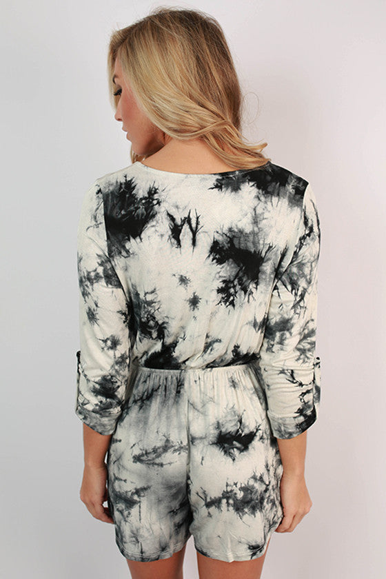 Into The Fall Tie Dye Romper in Black