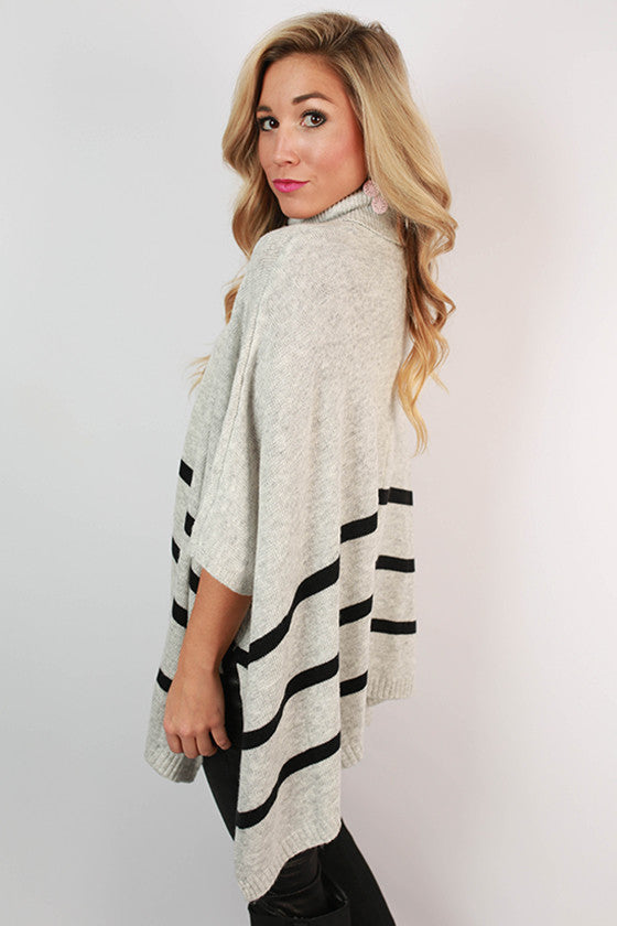 Striped in Time Sweater Poncho