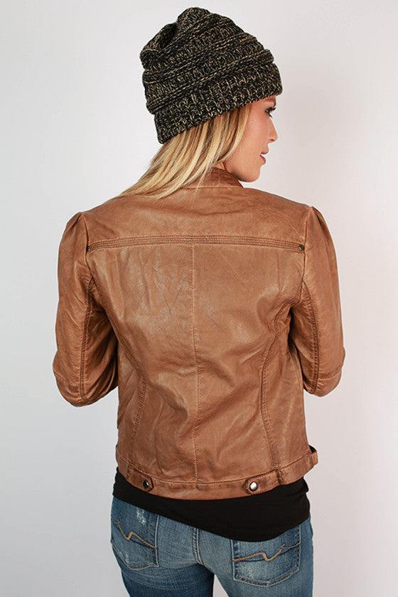 Rebel With A Cause Faux Leather Jacket in Brown