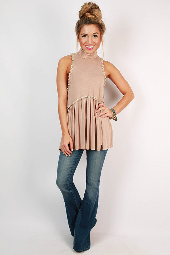 Fashion Queen Turtleneck Tank in Taupe