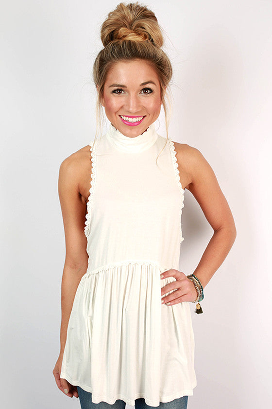 Fashion Queen Turtleneck Tank in Ivory