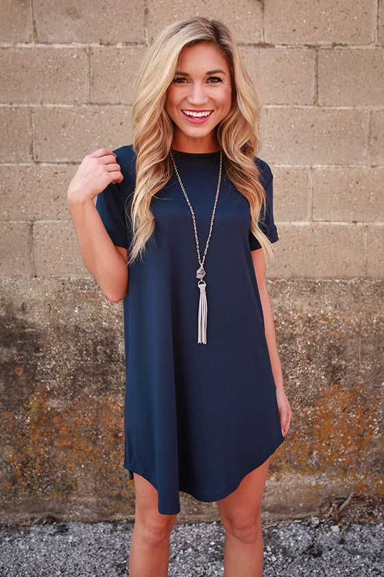 Take A Chance T-Shirt Dress in Navy