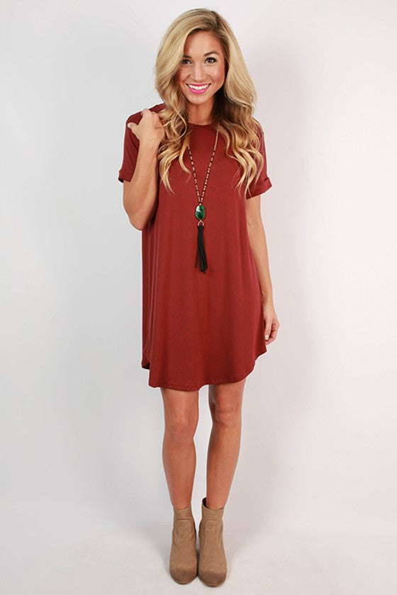 Take A Chance T-Shirt Dress in Cabernet