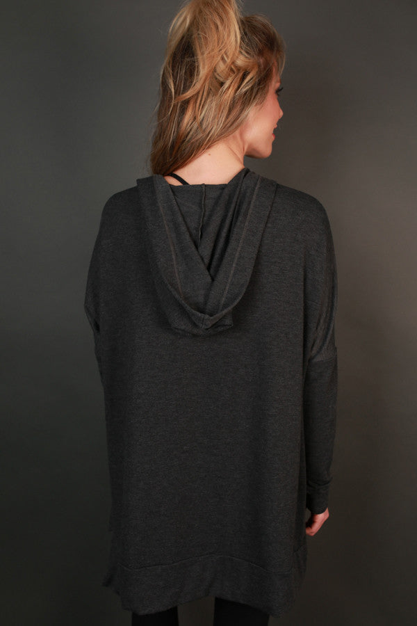 Chill Time Tunic Hoodie in Charcoal