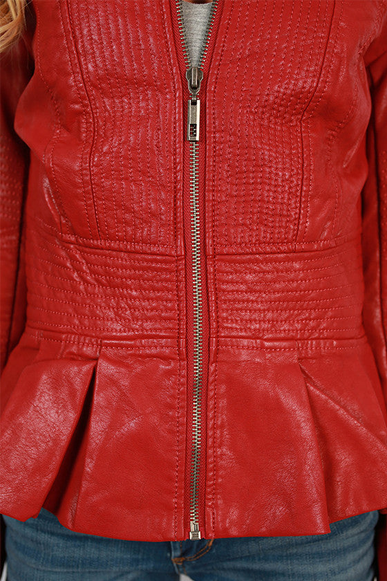 Fashion Week Bound Faux Leather Jacket in Red