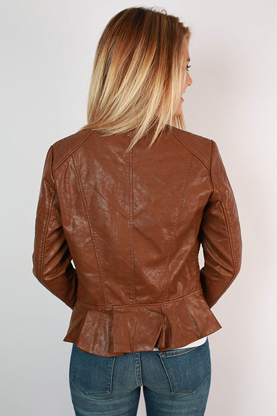 Fashion Week Bound Faux Leather Jacket in Brown