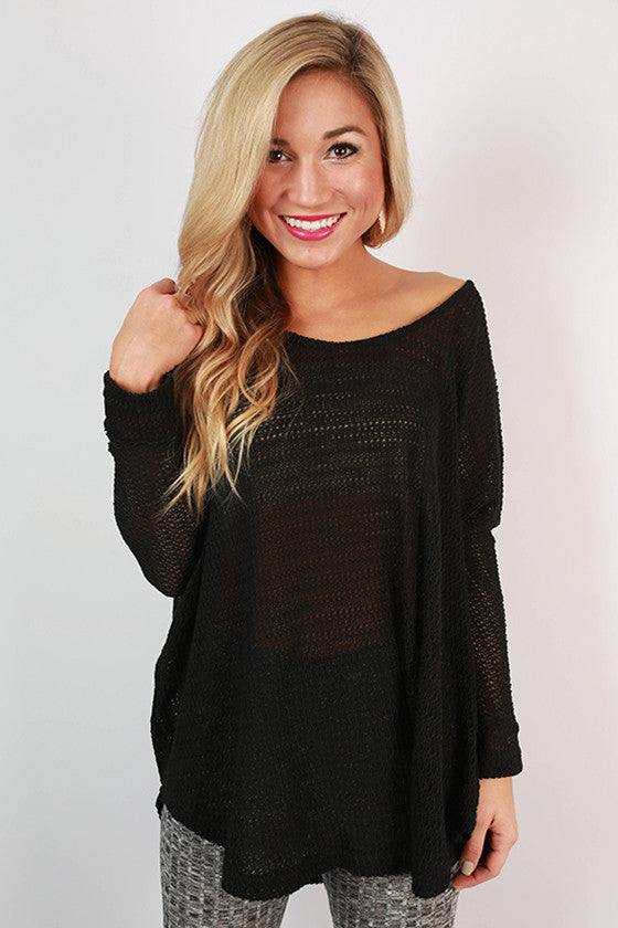 Travel Time Knitted Tunic in Black