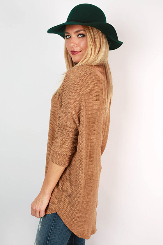 Travel Time Knitted Tunic in Khaki