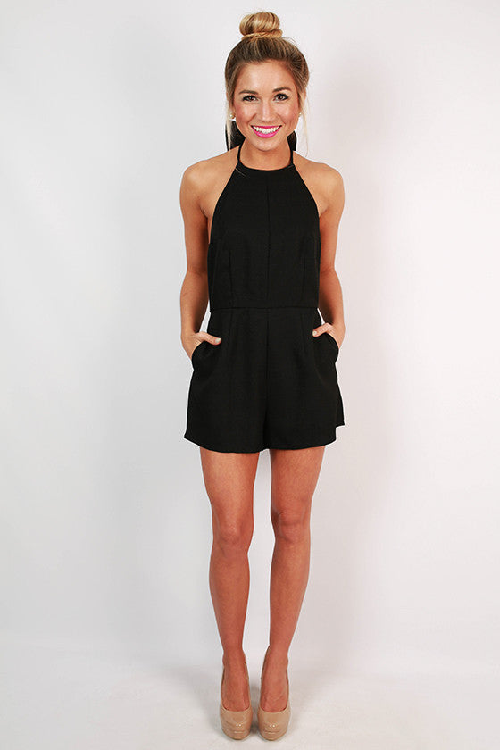 Guest of Honor Halter Romper in Black