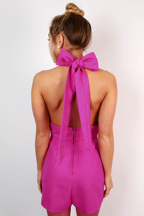 Guest of Honor Halter Romper in Neon Orchid