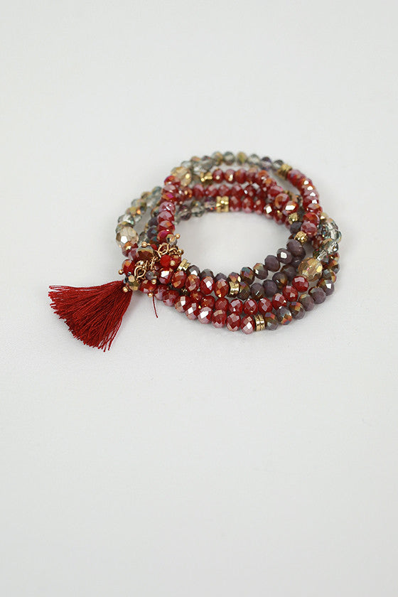 Sparkle & Shake Bracelet Set in Maroon