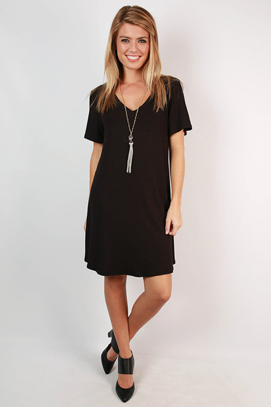 Fuzzy Wuzzy Lines Boyfriend T-Shirt Dress in Black