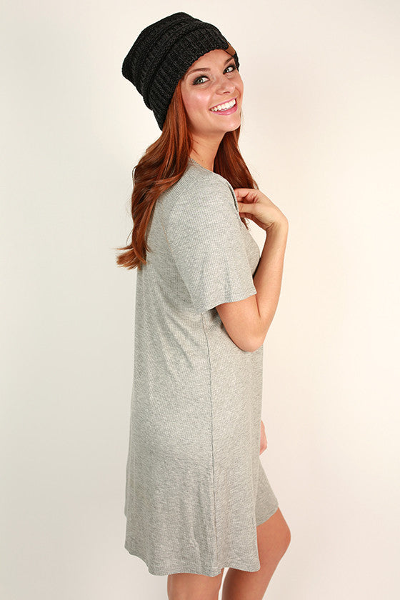 Fuzzy Wuzzy Lines Boyfriend T-Shirt Dress in Grey