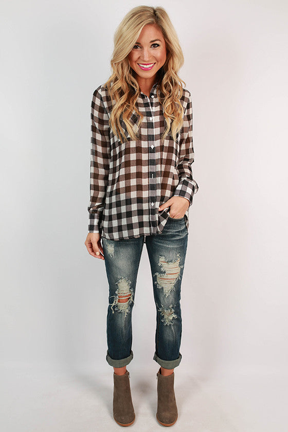 Lumberjack Chic Buffalo Plaid Top in White