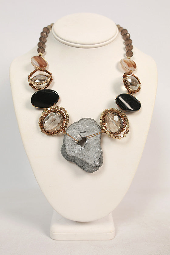 Let's Get Fancy Statement Necklace in Grey