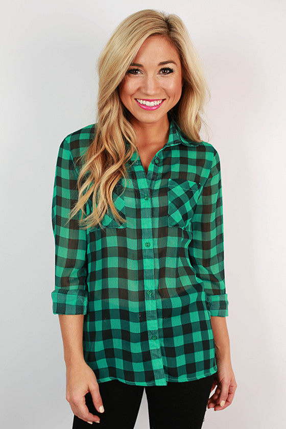 Lumberjack Chic Buffalo Plaid Top in Turquoise