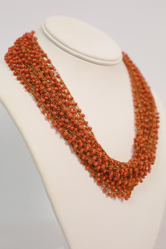Boho Charm Layered Necklace in Tangerine