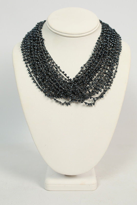 Boho Charm Layered Necklace in Slate