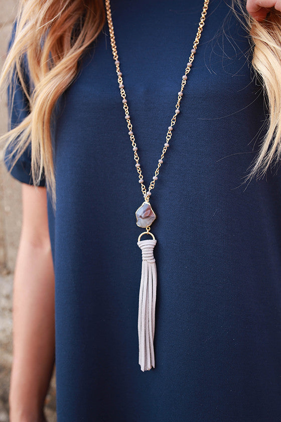 Weekend in Paris Tassel Necklace in Grey