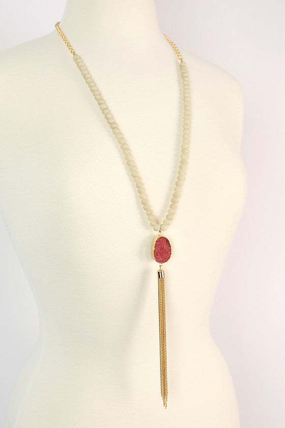 First Class to Rome Tassel Necklace in Sangria