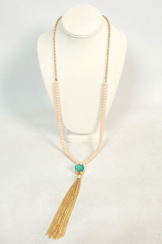 First Class to Rome Tassel Necklace in Turquoise
