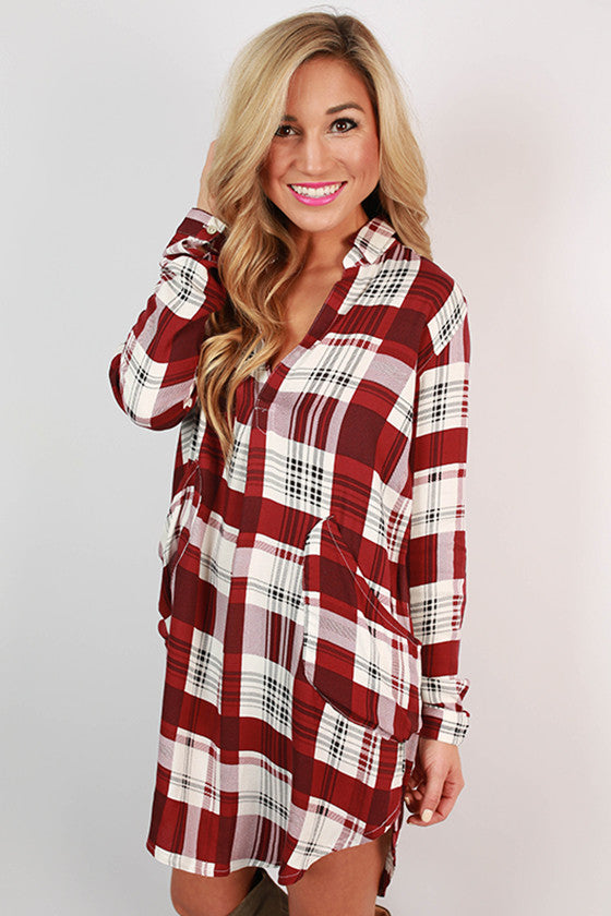 Plaid Occasion Shirt Dress in Ruby Wine