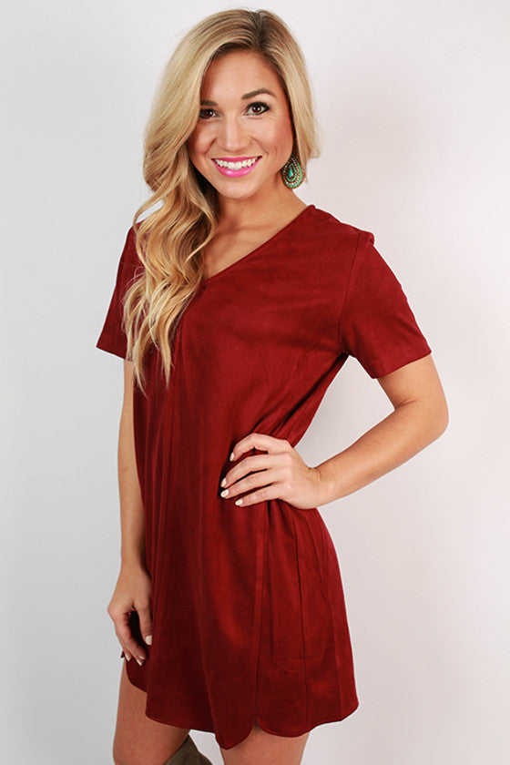 Ladies First Faux Suede Shift Dress in Maroon