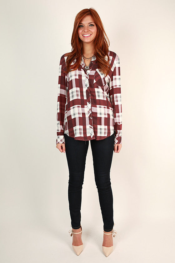 Back Road Plaid Button Up Top