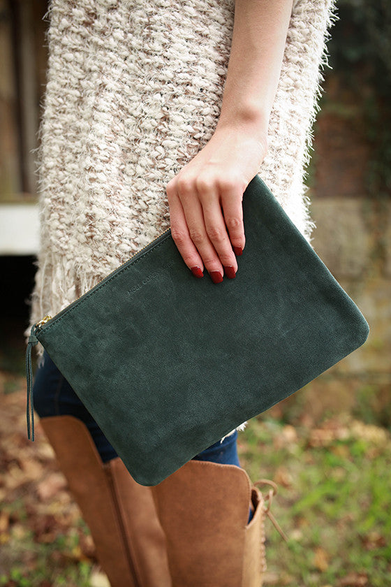 Meet Me At Fashion Week Clutch in Hunter Green