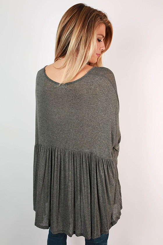 Not Your Babydoll Swing Top in Dark Grey