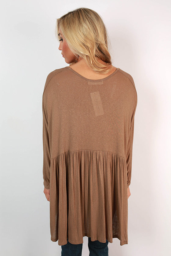 Not Your Babydoll Swing Top in Mocha