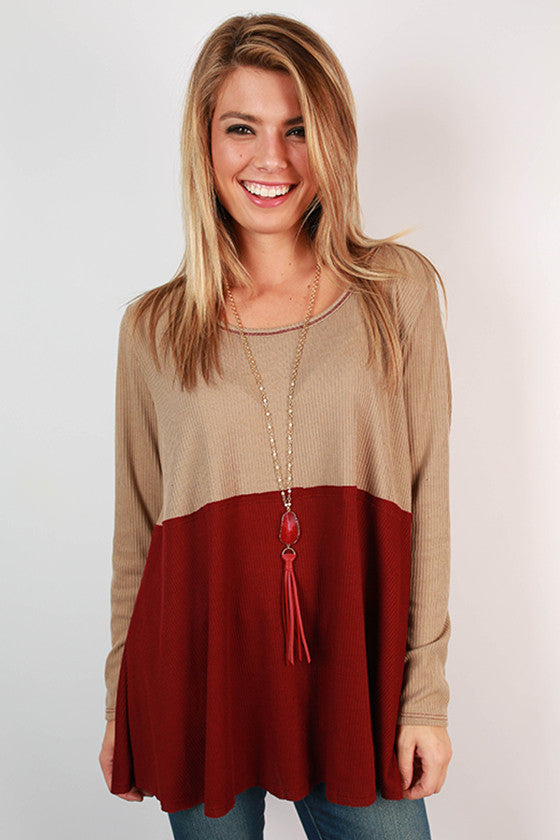 One Way To France Tunic Top in Crimson